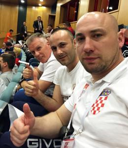 treneri kristijan hodak i stipica brekalo i hrvatski boksaèki izbornik leonard pijetraj tijekom ždrijeba na olimpijskom kvalifikacijskom turniru u turskom gradu samsunu
