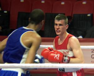 hrvatski boksaèki reprezentativac erik pijetraj tijekom dvoboja protiv francuza hassana amzilea na olimpijskim kvalifikacijama u turskoj