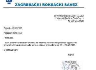 Zagrebački savez  nije u mogućnosti održati PPH mlađih seniora i žena