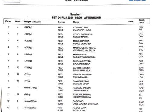 PH ZA ŽENE I SENIORE U-22 Raspored mečeva prvog dana natjecanja na Jarunu, u petak 24. rujna 2021.